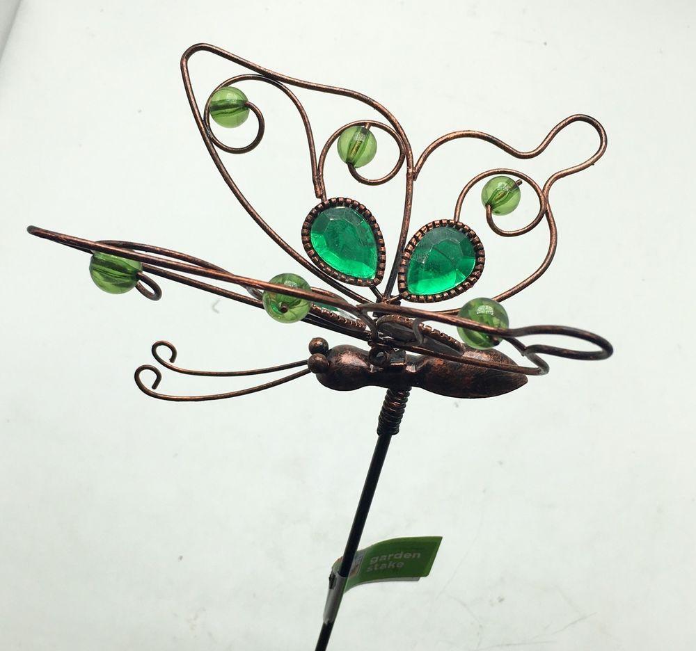 Butterfly With Green Glass Metal Garden Stake Yard Art Outdoor New  #OutdoorsbyDesign