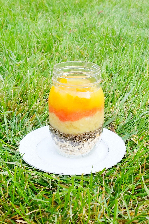 EASY healthy grapefruit orange banana chia overnight oats