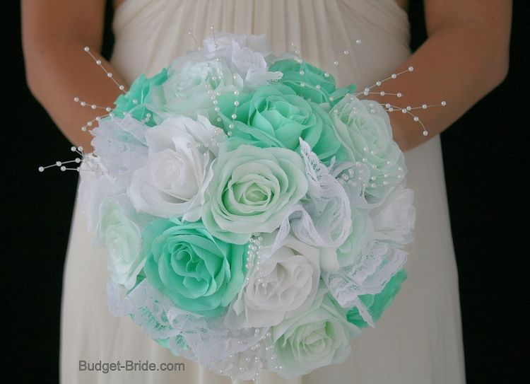 Mint Green Wedding Flower Brides Bouquet With Tiffany Blue And White Roses Lace Pearls