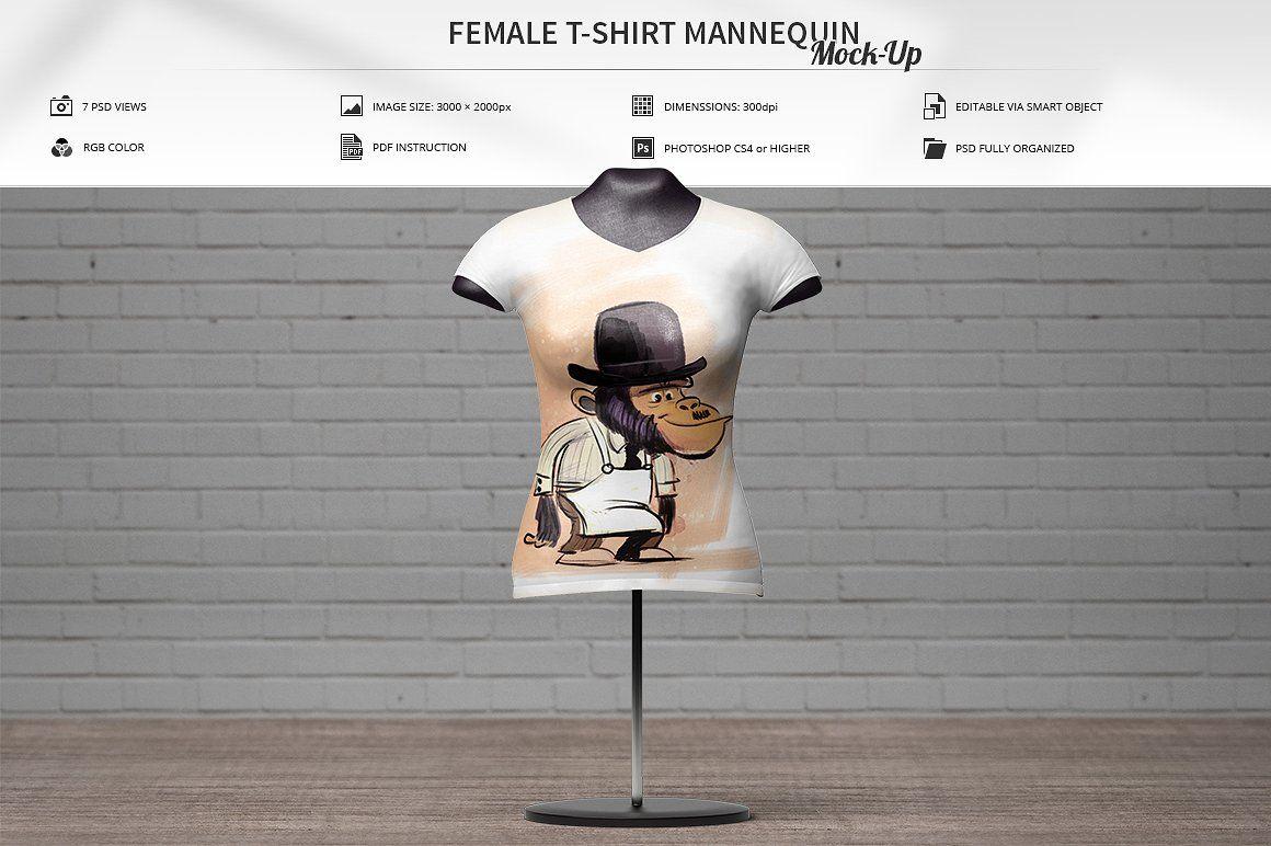 Female T Shirt Mannequin Mock Up Mannequins Female Mockup