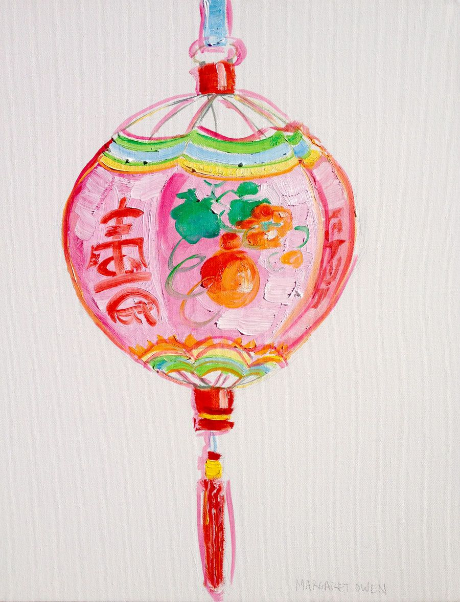 Pink Chinese Lantern Painting By Margaret Owen Vintage Chinese