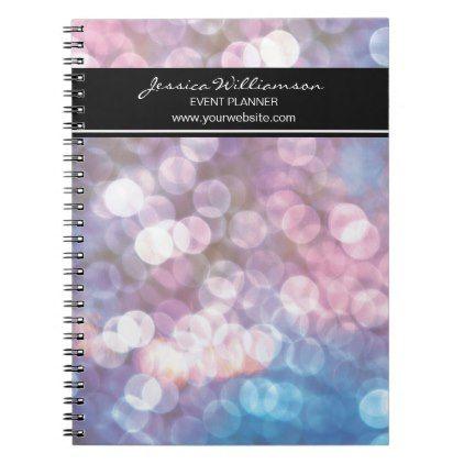 wedding Event Planner bokeh sparkle lights trendy Spiral Notebook