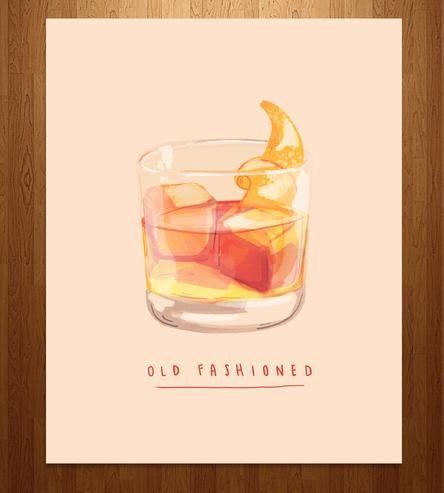 Old Fashioned Cocktail Art Print Illustrazione