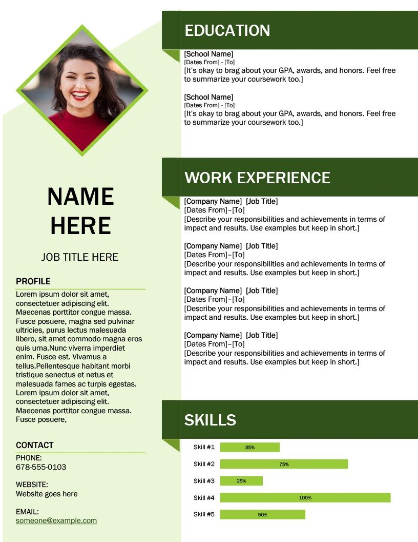 Green Cube Resume Resume Template Word Downloadable Resume