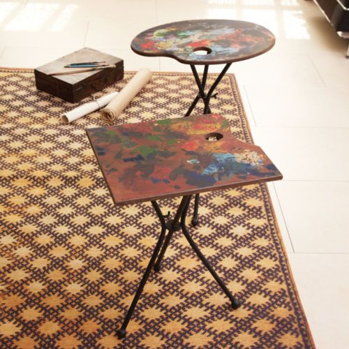 NEW Artist Palette Folding End Table www.TheConsignmentBag.com We ship Worldwide and receive exciting merchandise daily!  Shop often and SAVE more!