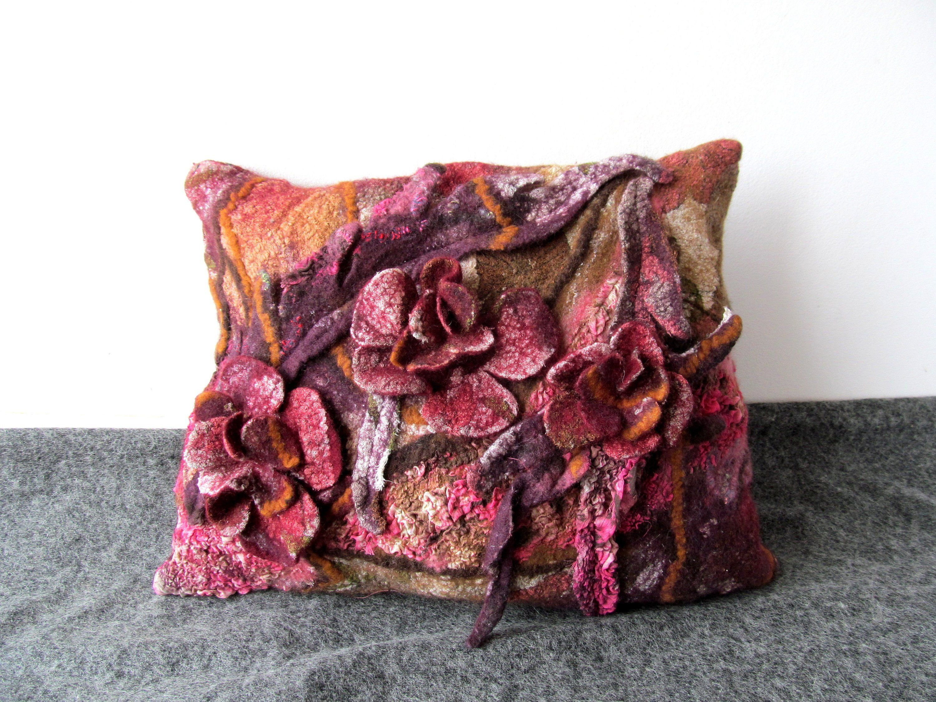 Decorative pillow cover textured purple pillow cover handmade