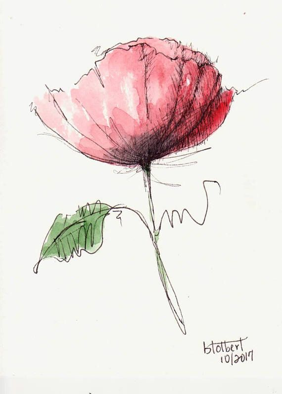 Original Artwork Of A Single Lovely Red Poppy Flower With A Green Leaf Rendered In Pen Ink And Watercolor The Poppy Watercolor Is Painted Watercolor Poppies Hand Painting Art Watercolor Flowers