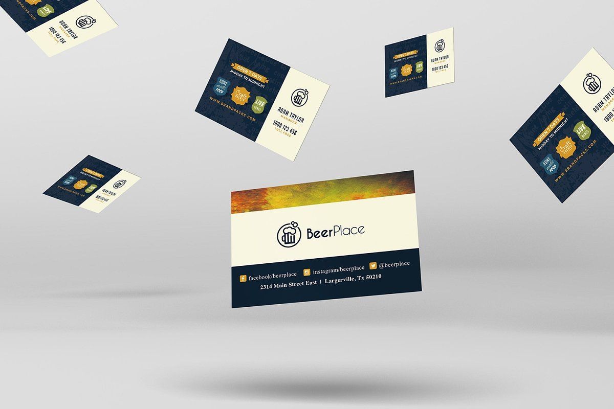 Pub Business Card Template Sponsored Features Front Amp