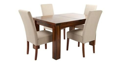 Shiraz Small Extending Dining Table & Set of 4 Tunis Dark Leg ...