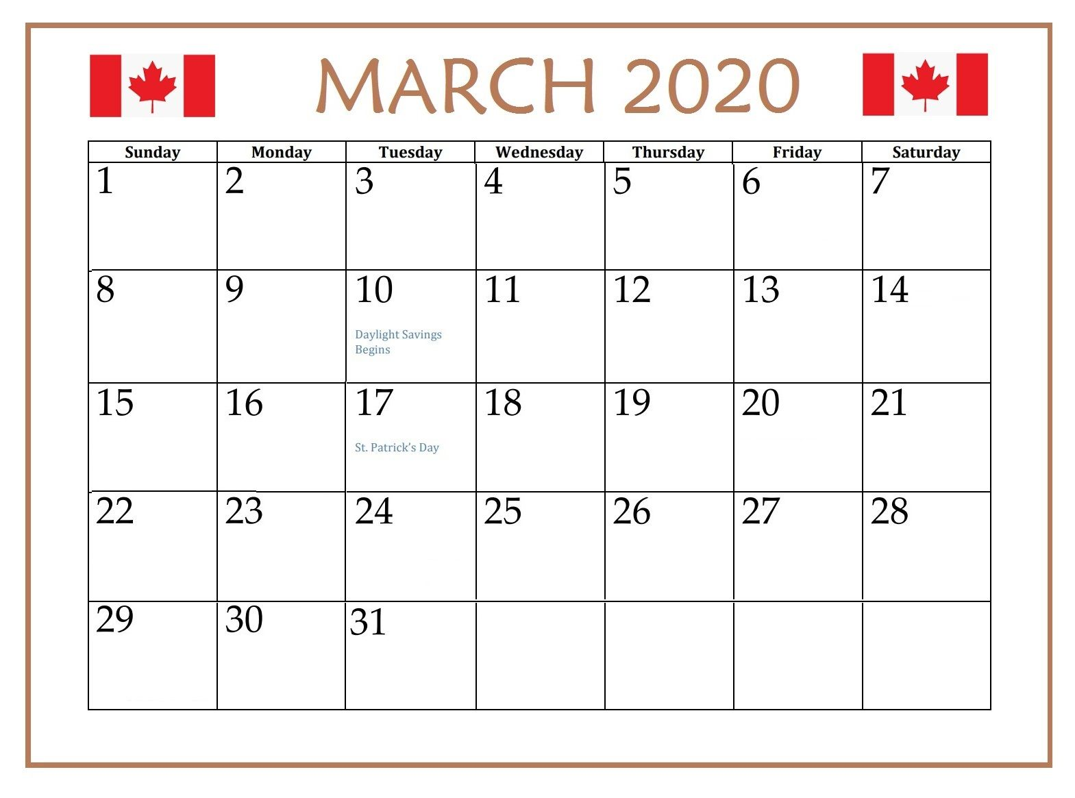 March 2020 Calendar With Holidays For Us Canada India Australia