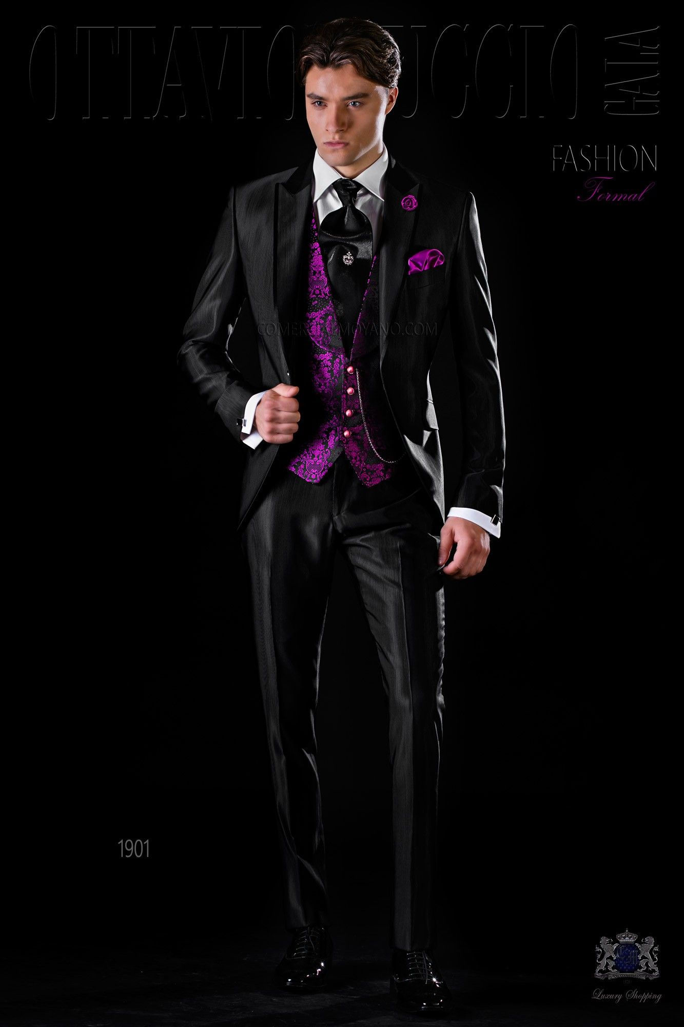Italian Black Slim Groom Suit Ottavio Nuccio Gala Prom Suit