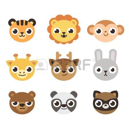 Vector Plana Conjunto De Cabezas De Animales De Dibujos Animados Divertido Animales De Dibujos Animados Bonitos Dibujos Animados Divertidos Cabezas De Animales