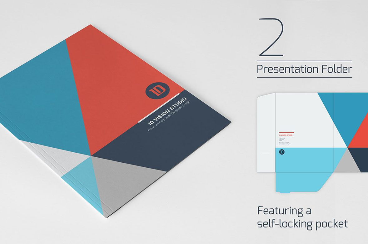 Stationery Corporate Identity 003 Graphic Templates By Id Vision Studio From Envato Elements Corporate Folder Presentation Folder Corporate Identity