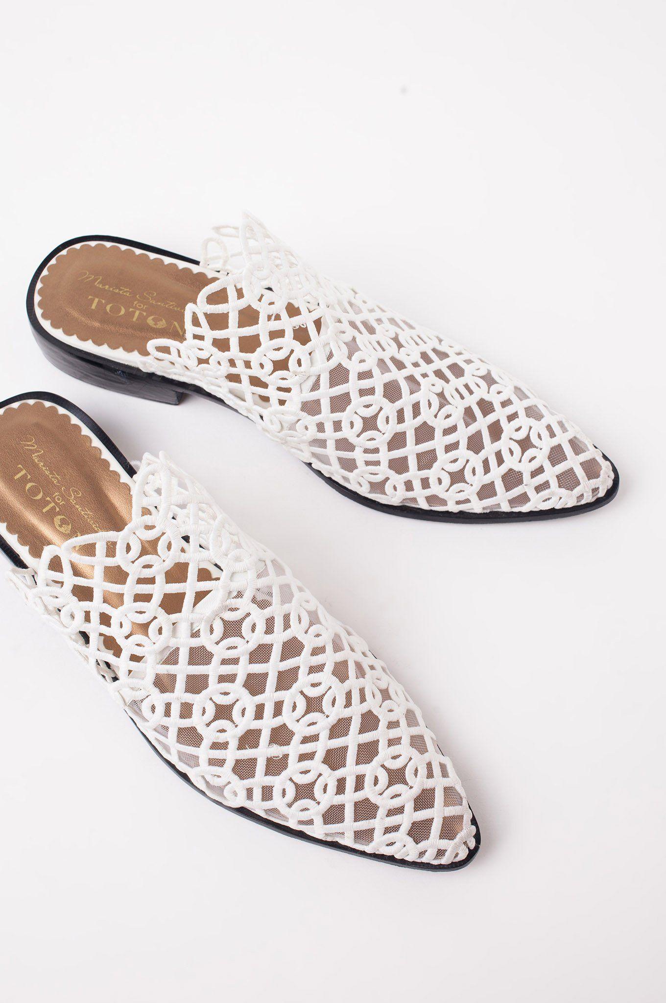 White Kawung Slippers