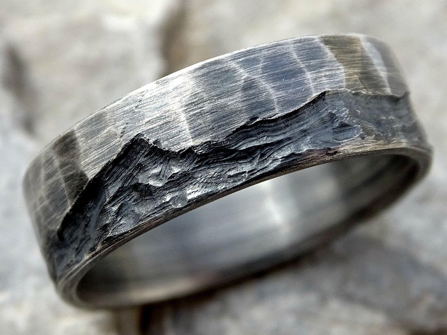 Rustic Wave Ring Silver Boho Wedding Ring Mens Wedding Band Etsy Boho Wedding Ring Cool Rings For Men Mens Wedding Rings