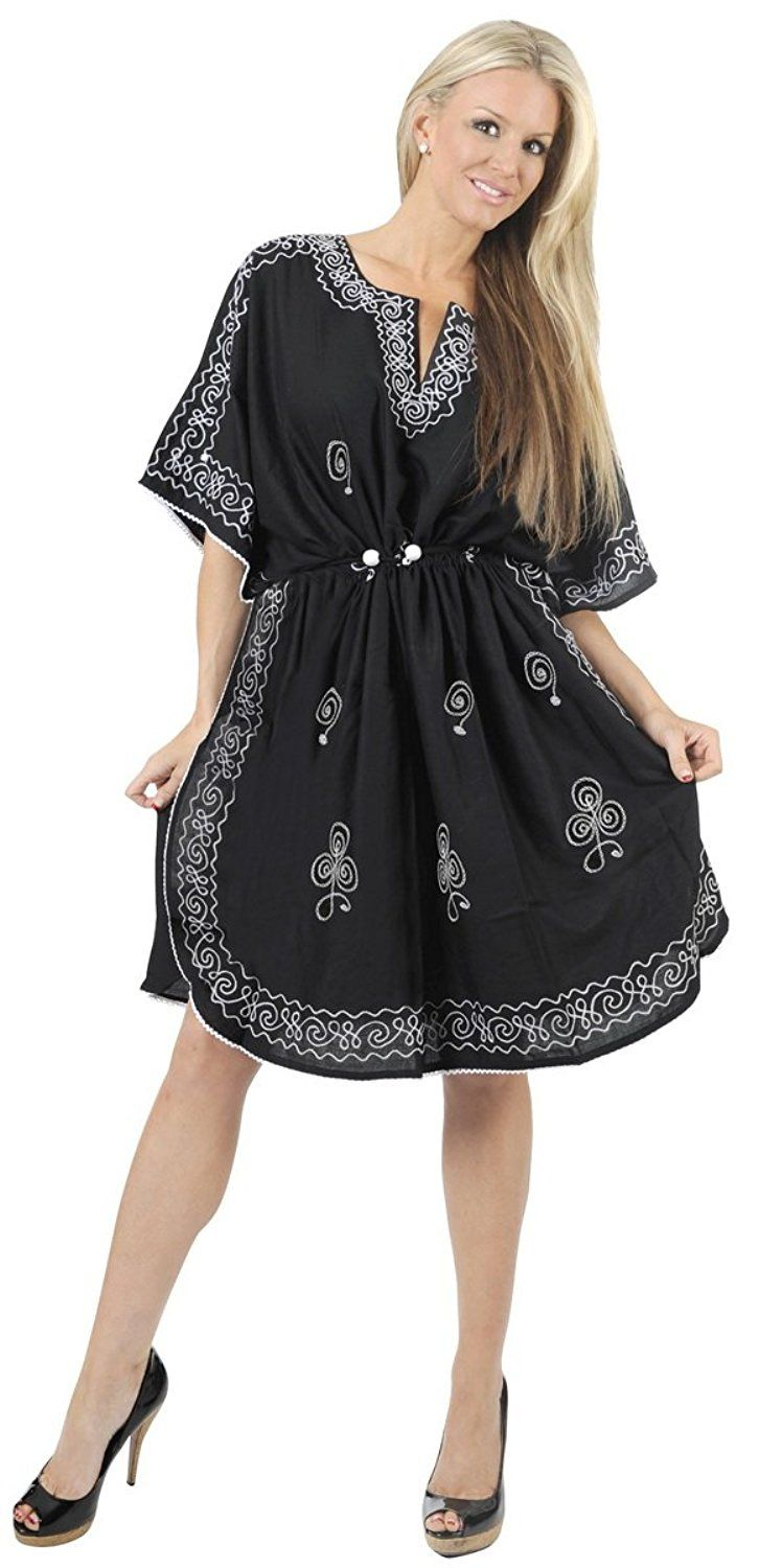 e001c3251ef La Leela Rayon Black Designer Hand Embroidered Caftan Beach Wear Swim Cover  Up -- Unbelievable item right here! : Plus size bathing suits
