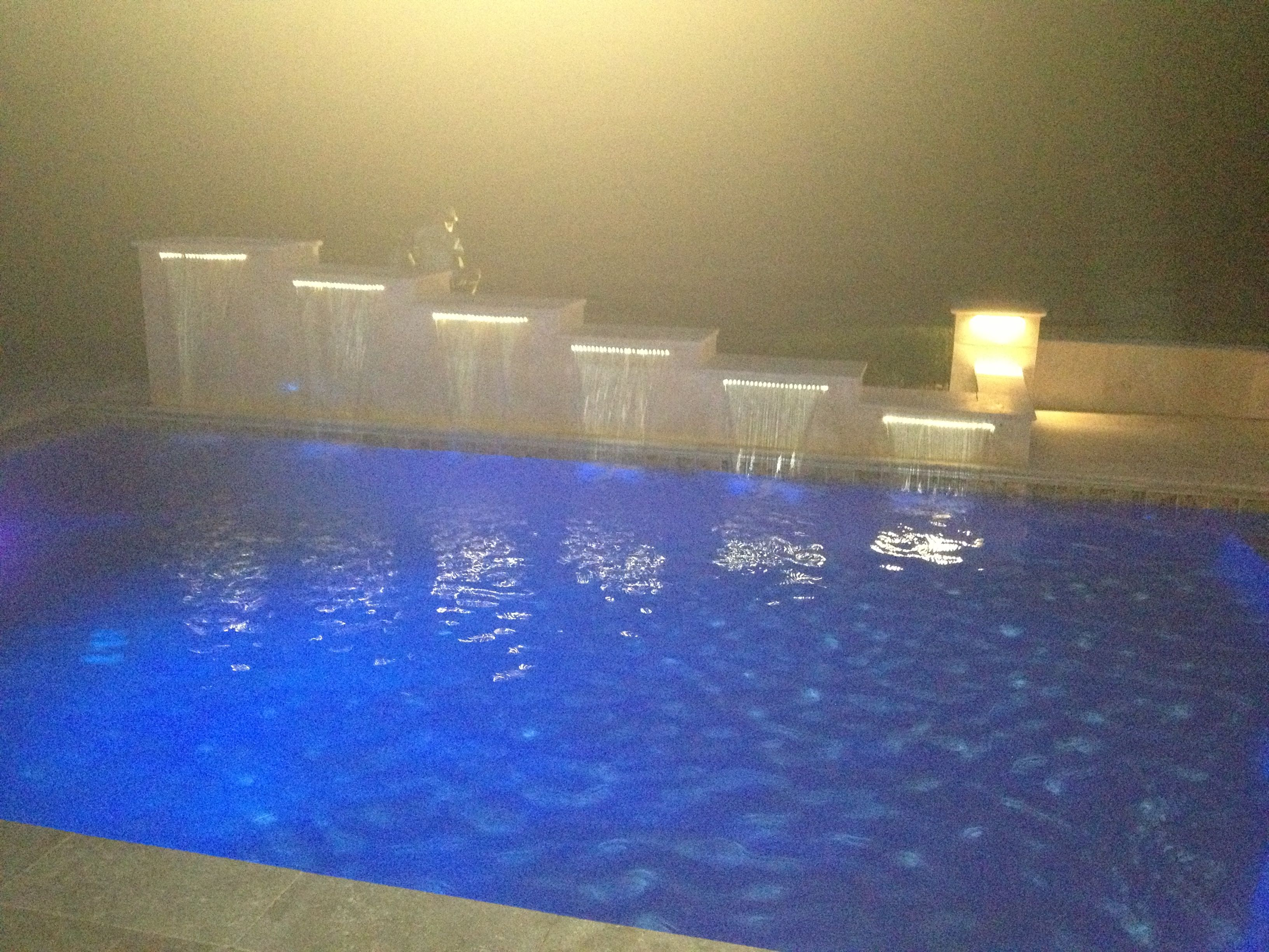 6 tiered travertine sheer descent water feature into pool. | My ...
