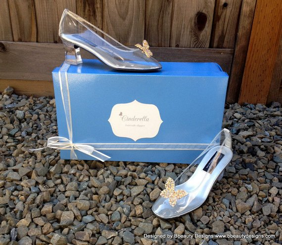 fa36c87d2 Cinderella Live Action 2015 Butterfly Glass Slippers Style Adult Costume  Pumps Heels Shoes Custom M