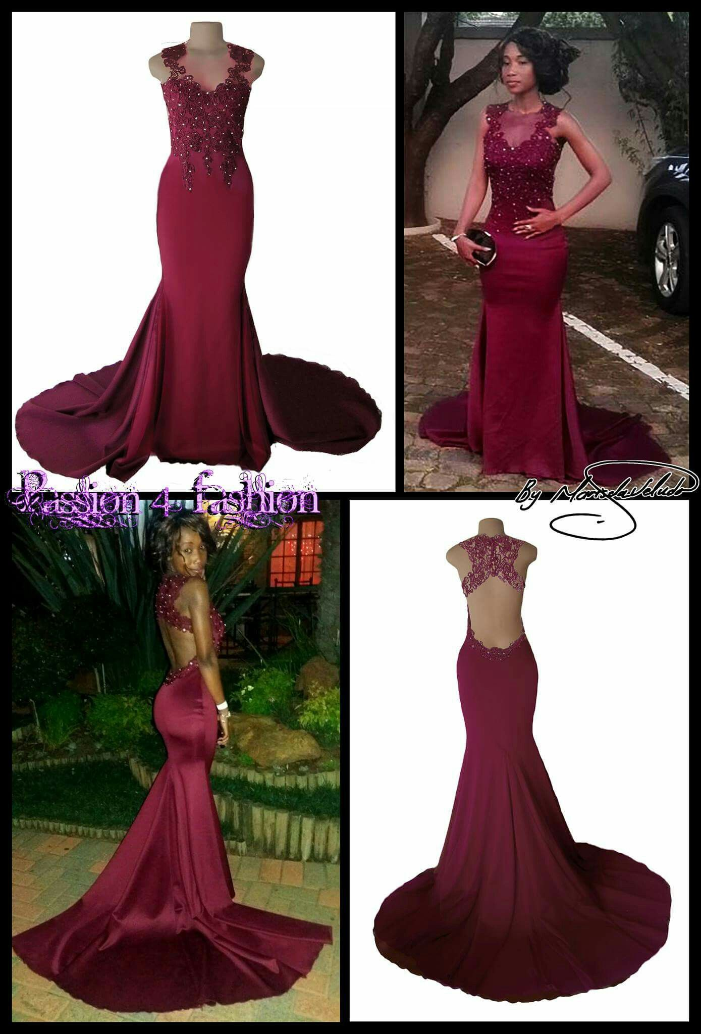 2fa3bc04b6e0 Burgundy soft mermaid, lace bodice matric dance dress with a low open back.  A train and silver beads. #mariselaveludo #fashion #matricdance  #matricdress ...