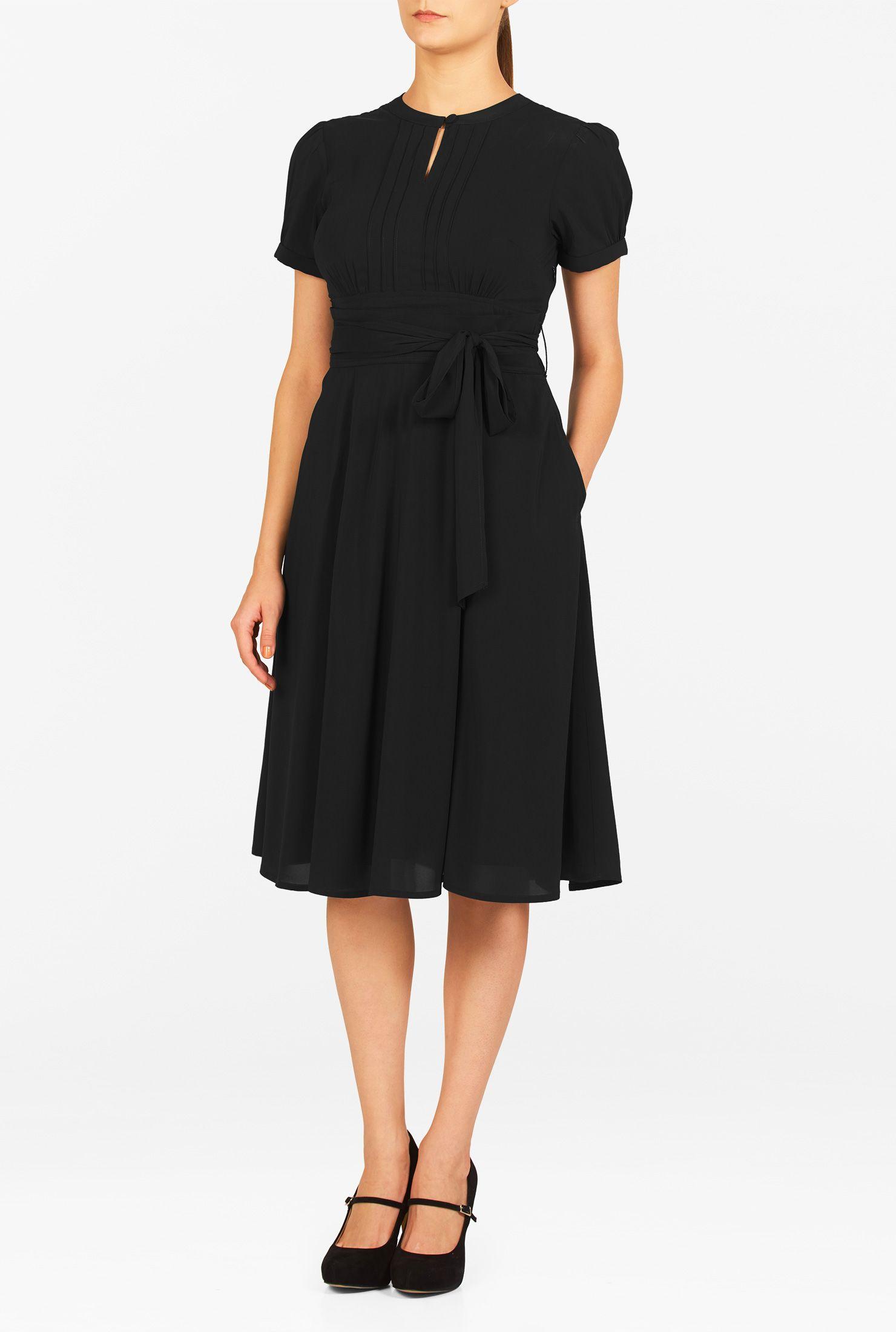 Below Knee Length Dresses Belted Dresses Black Dresses Inset Waist Dresses Keyhole Dresses Machine Wash Dresses Mid Weight Dresses Pleated Dresses Plu [ 2200 x 1480 Pixel ]