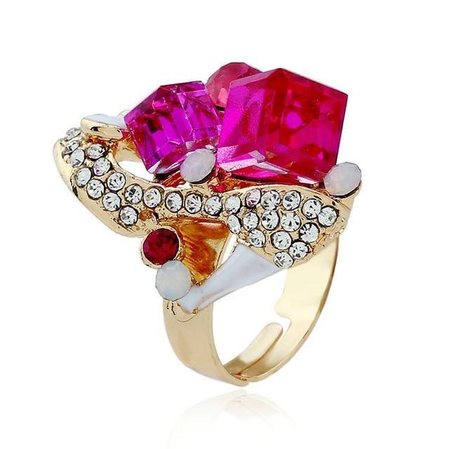 Crystal flower ring – Resizable / rose red