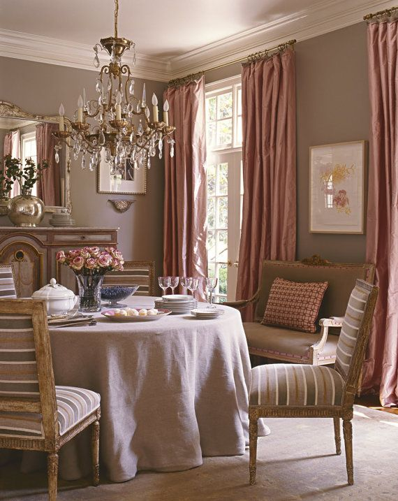BLUSH PINK SILK Curtain Dupioni Silk Window Dressing Draping Interior Decor
