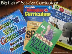 Our big master list of secular homeschool curriculum options. Books, sites and other programs with non-religious content.