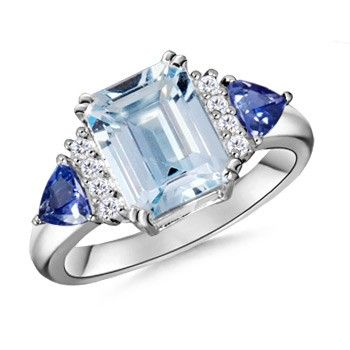 Angara Cocktail Aquamarine Ring with Tanzanite Side Stones in Platinum 49fkoX98Kb