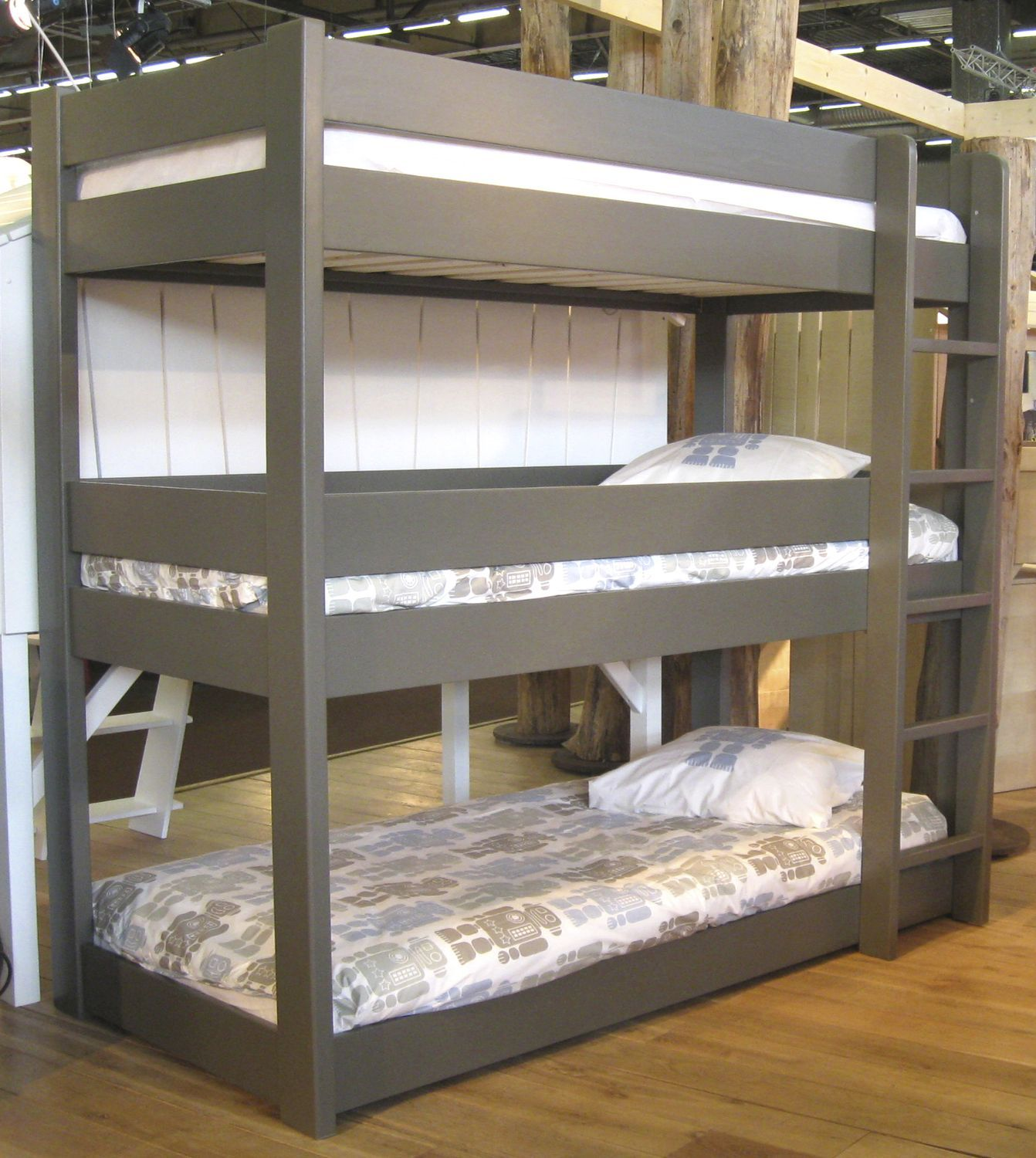 Gorgeous Three Levels Beds With Grey Polished Bed Frames Added