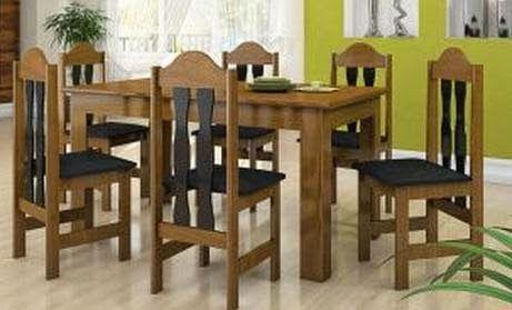 Conjunto de Mesa e 6 Cadeiras Florença Imbuia & Preto - Celta, por R$ 699,00