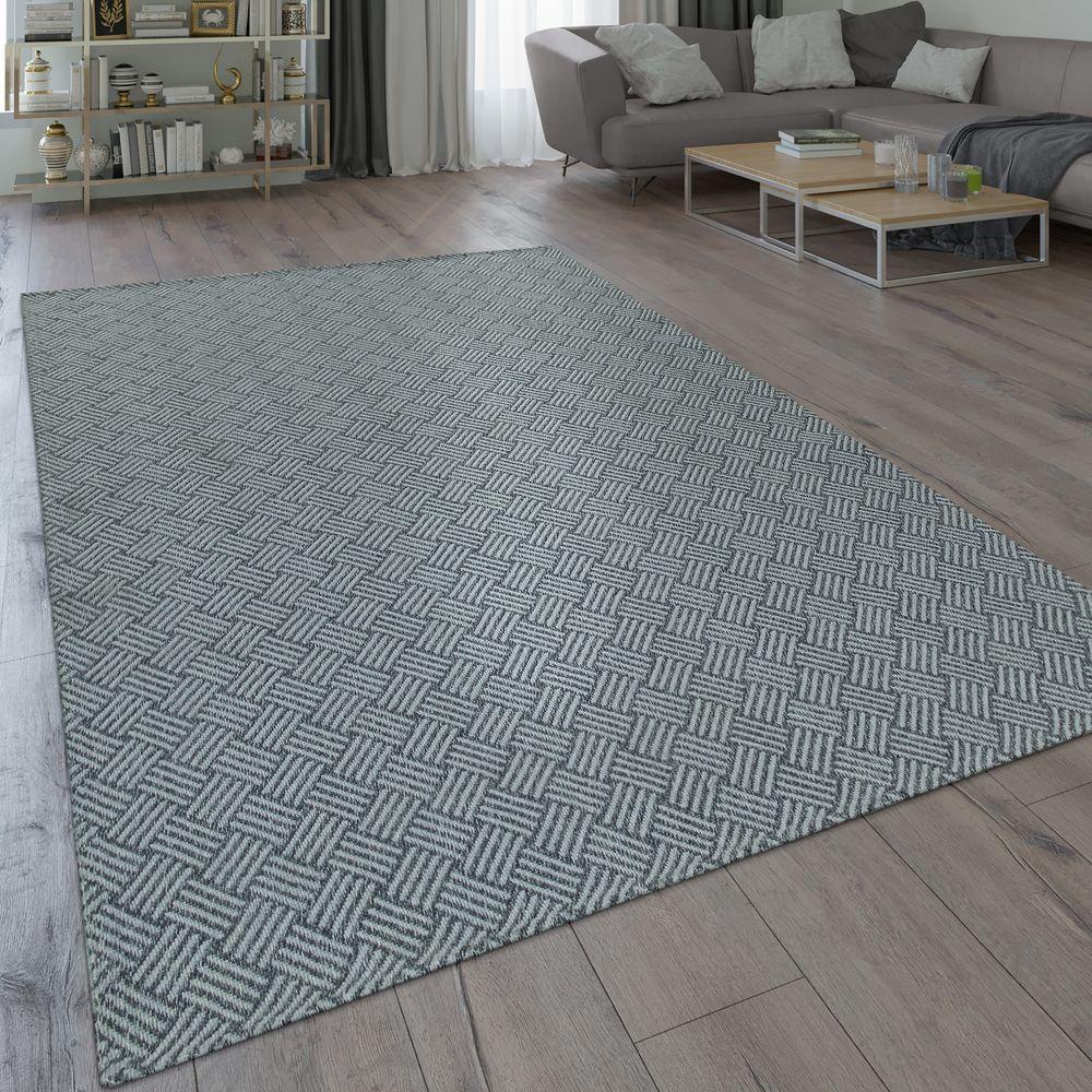 Teppich Web Muster Robust Grau Teppich Flachgewebe Teppich Grau