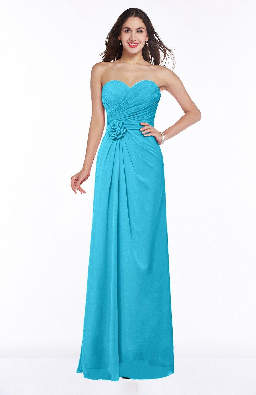 Turquoise bridesmaid dress modern aline sweetheart chiffon floor