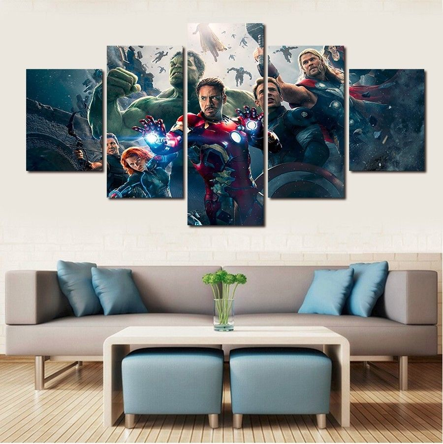 5 Piece Canvas The Avengers Movies Painting Printed Poster Wall Art Home  Decor