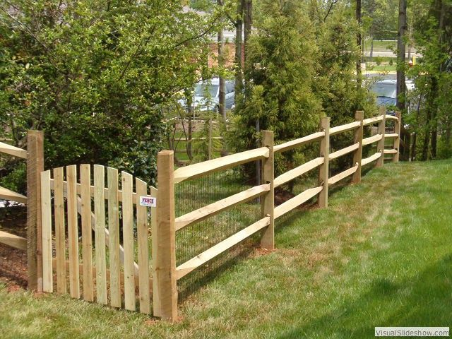 Split Rail Fence With Wire Meshfencing Cheap Fence Backyard