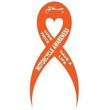Look Twice Save A Life Orange Motorcycle Awareness Ribbon Vinyl Car Decal Heart Awareness Tattoo Motorcycle Decals Awareness Ribbons