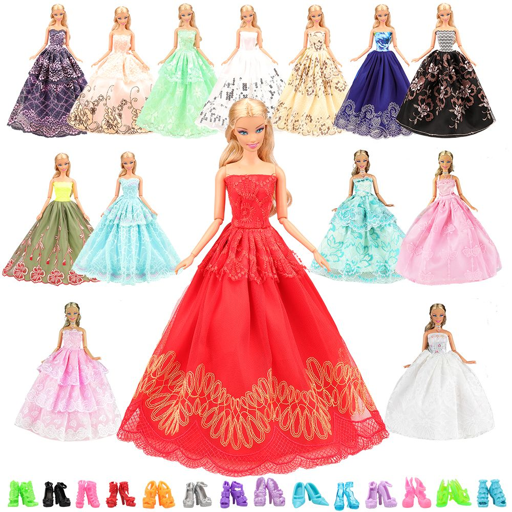 8bc08238d0e Fashion 5PCS Set Send Randomly 10 Pairs shoes Handmade Gift Present Outfit  For Barbie Gown