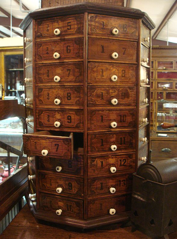 Octagon Shaped Wooden Cabinet With 72 Pie Shaped Drawers
