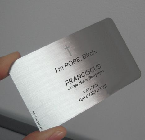 New Pope Business Card Mark Zuckerberg Style