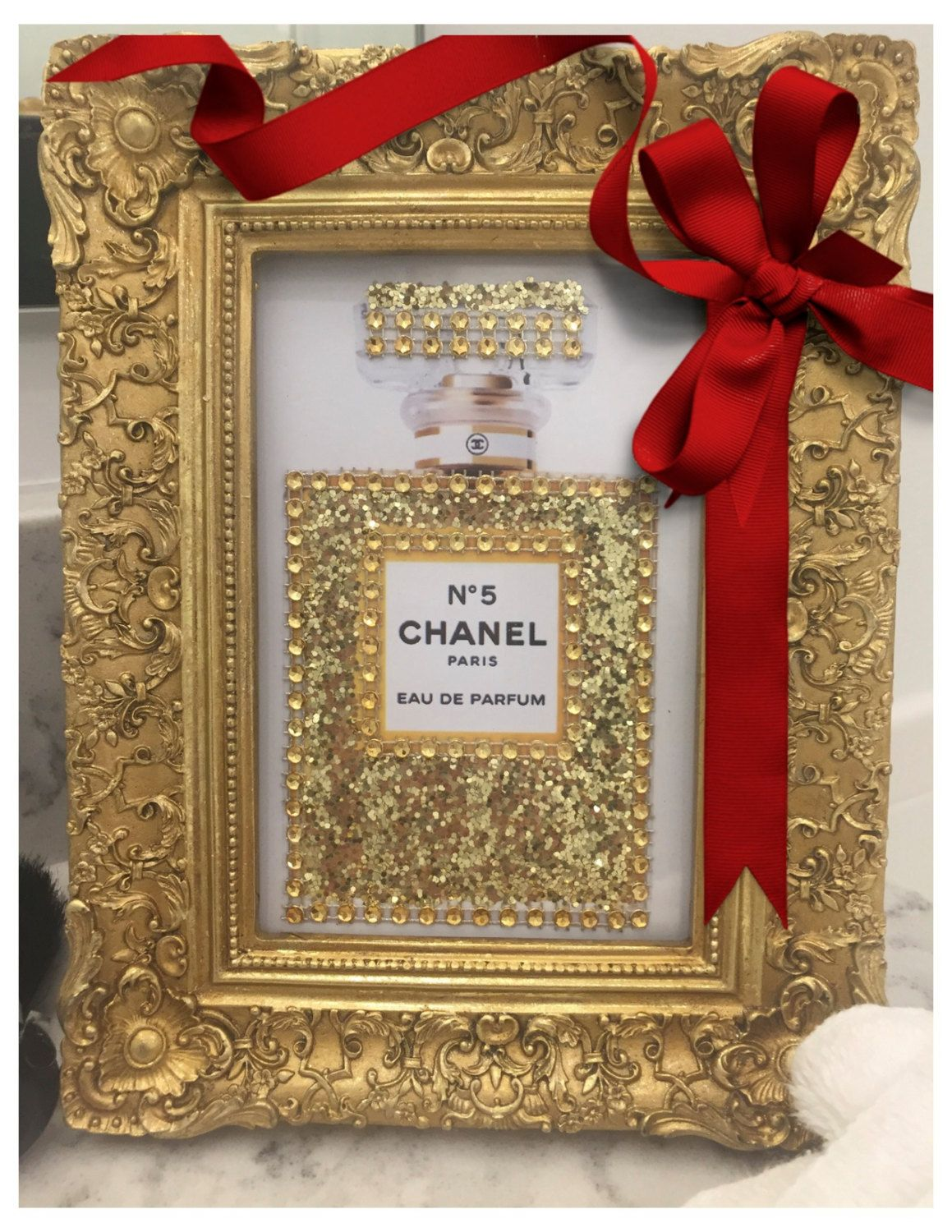 Ornate Gold Framed Chanel No. 5 Glitter and Crystals 4 x 6 Vanity ...