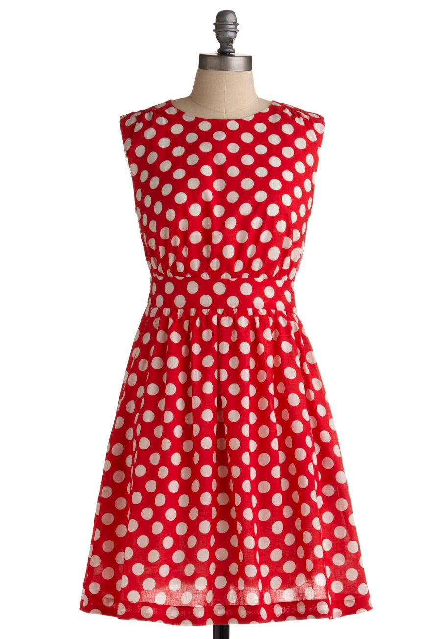 Too Much Fun Dress In Cherry By Emily And Fin Red White