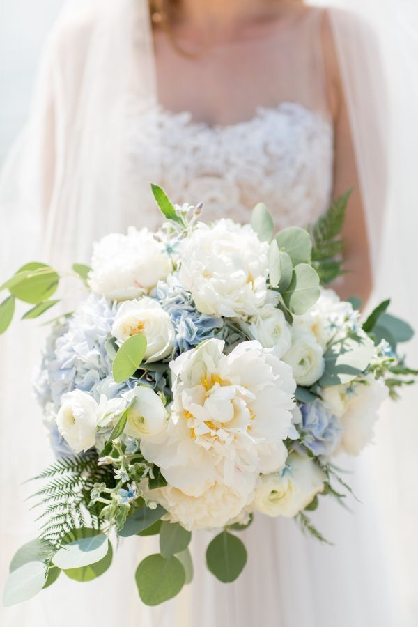 Bridal Bouquet With White Peonies Blue Hydrangeas And Greenery