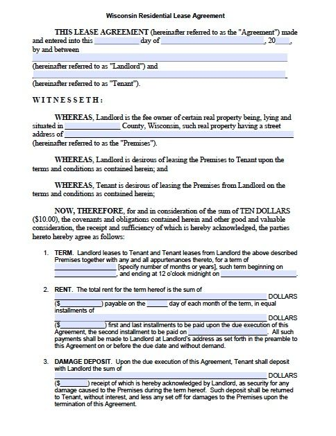 WisconsinStandardLeaseAgreement  To Be Read