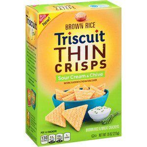 Nabisco Triscuit Sour Cream Chive Brown Rice Wheat Thin Crisps Crackers 7 6 Oz Walmart Com Sour Cream Chives Triscuit Sour Cream