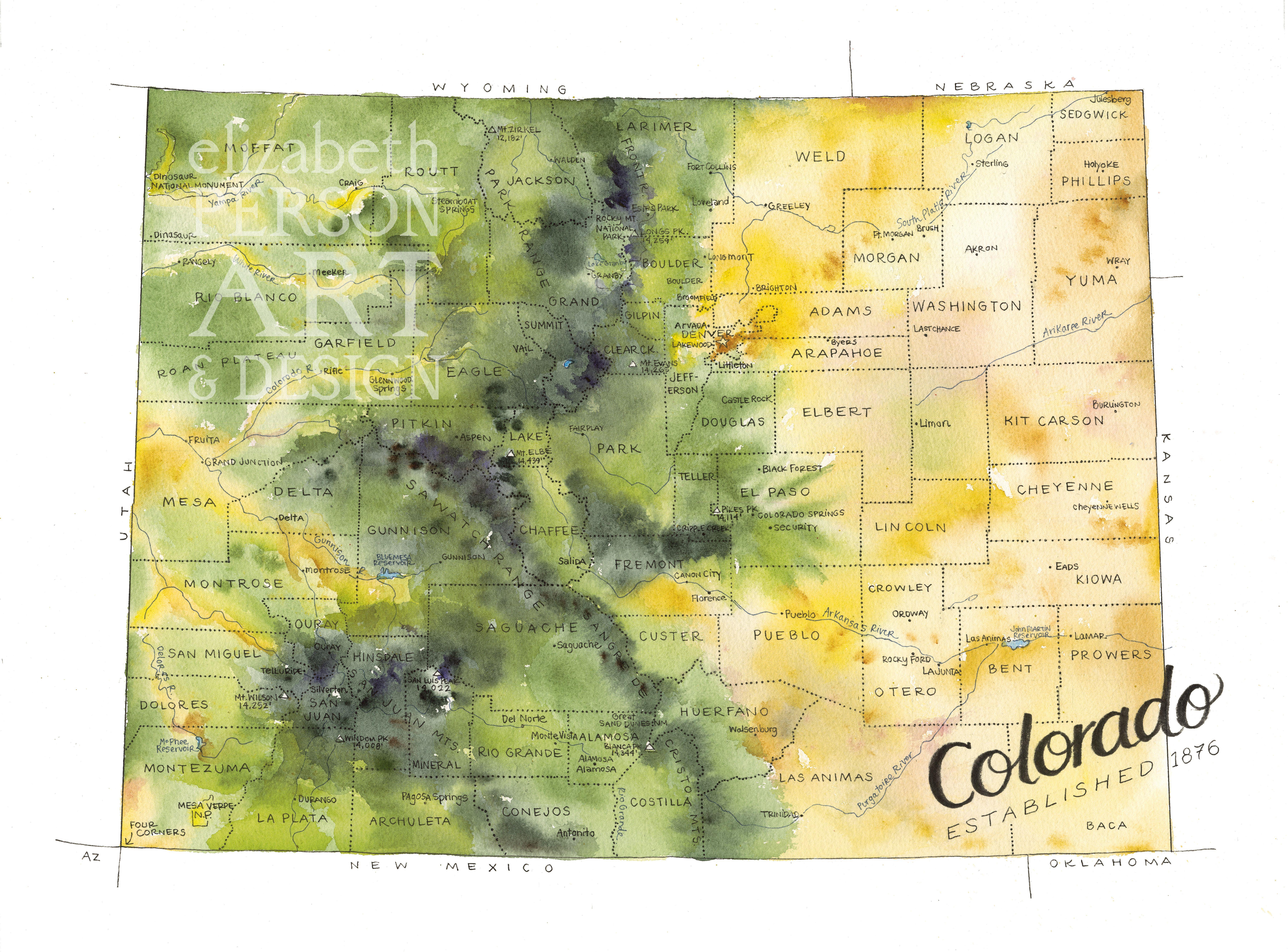 Colorado State Map by Elizabeth Person | Colorado map art, Denver ...