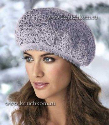 Красивый вязаный берет крючком | Knitting/crochet: scarves, hats ...