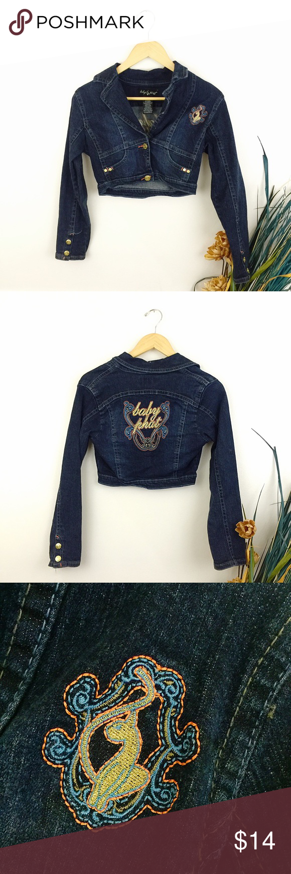 595e609b3 Girls BABY PHAT Cropped Denim Jean Jacket Sz L Girls BABY PHAT Cropped Denim  Jean Jacket