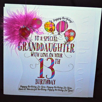 Embroidered Personalised Daughter Sister Gdaughter 13th Birthday Greeting Cards