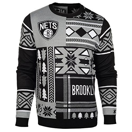 Nba Brooklyn Nets Patches Ugly Sweater Black Xxlarge Check Out
