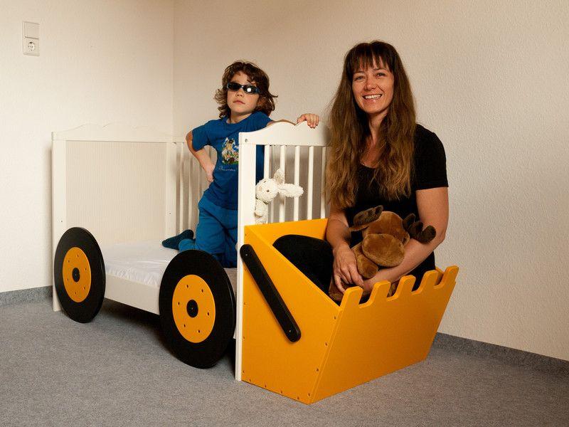 Kinderbett baggerbett  Kinderbett wird Baggerbett (Bett-Anbauset Bagger)