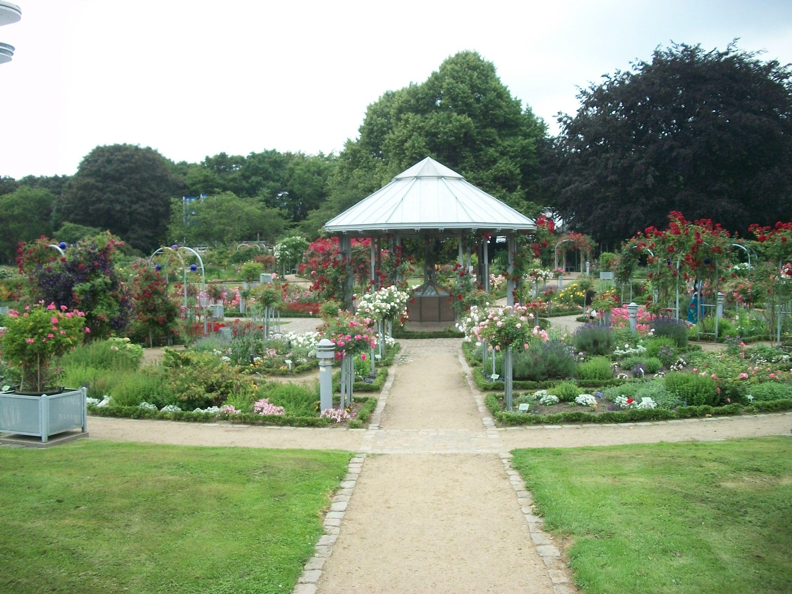 Gazebo In The Center Of The Rose Garden Hamburg Germany Botanical